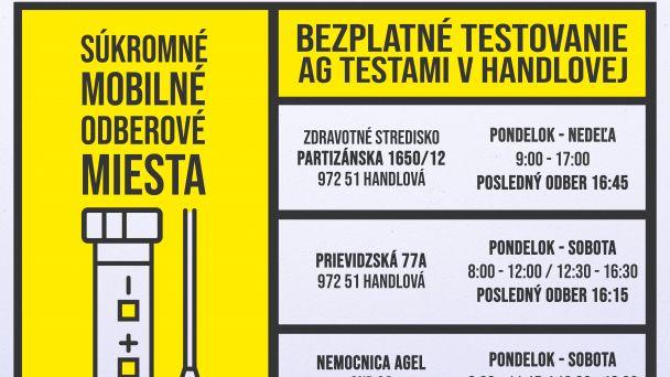 V Handlovej sa testuje AG testami aj počas nedele 21. 2. 2021